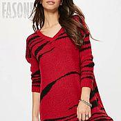 """Одежда ручной работы. Ярмарка Мастеров - ручная работа Платье красное вязаное """"Тигрица"""". Красное платье Красное. Handmade."""