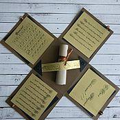 Открытки ручной работы. Ярмарка Мастеров - ручная работа Открытка - коробочка для мужчины Открытка сюрприз Коричневая открытка. Handmade.