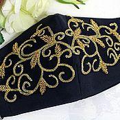 Аксессуары handmade. Livemaster - original item Protective reusable mask black with embroidery lace 4 layers. Handmade.