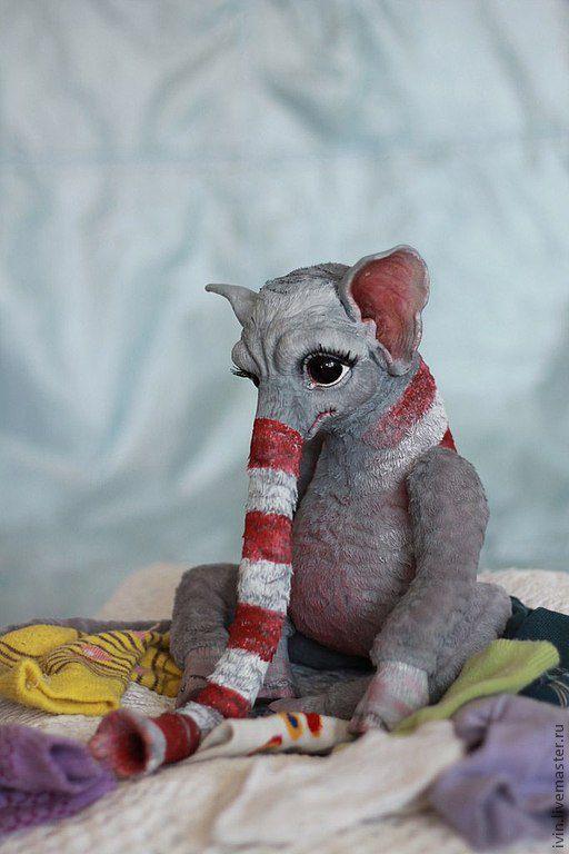 Сказочные персонажи ручной работы. Ярмарка Мастеров - ручная работа. Купить Пожиратель носков (Носкоед). Handmade. Серый, хобот, пластик
