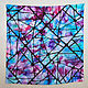 Батик-платок натуральный шелк горячий батик яркий бирюзово-фиолетовый геометричный