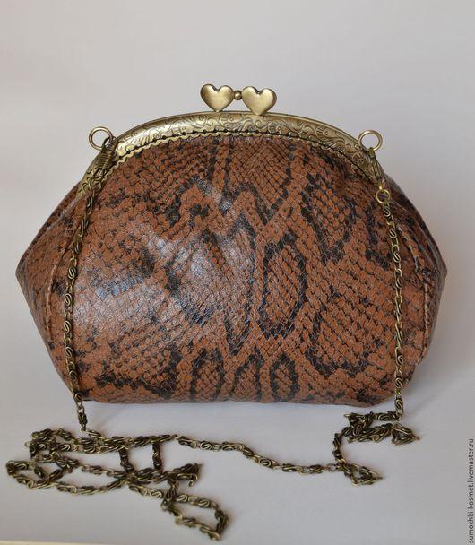 Женские сумки ручной работы. Ярмарка Мастеров - ручная работа. Купить Сумочка из натуральной кожи со змеиным принтом. Handmade.