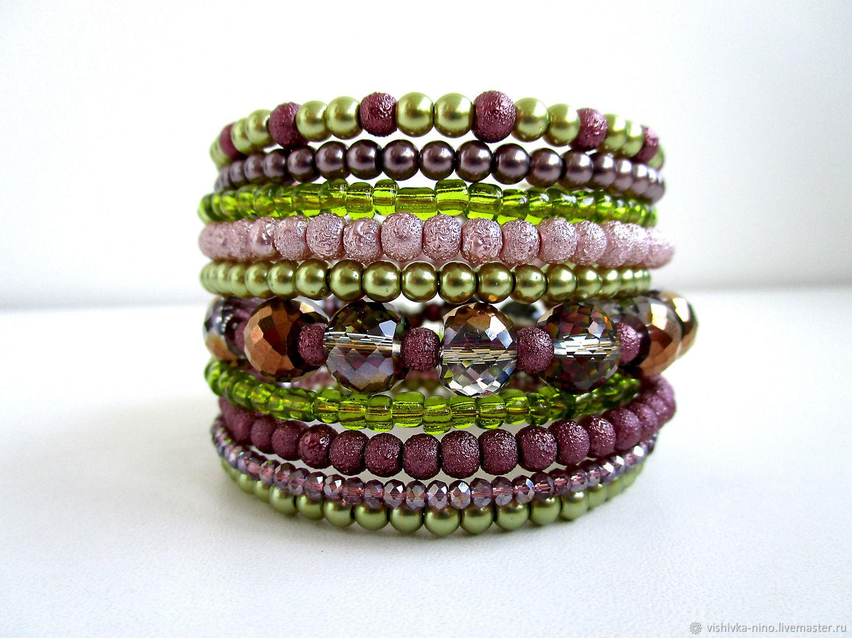 Multi-row bracelet on the hand made of beads and MAZHOLAN beads, Bead bracelet, Nizhny Novgorod,  Фото №1