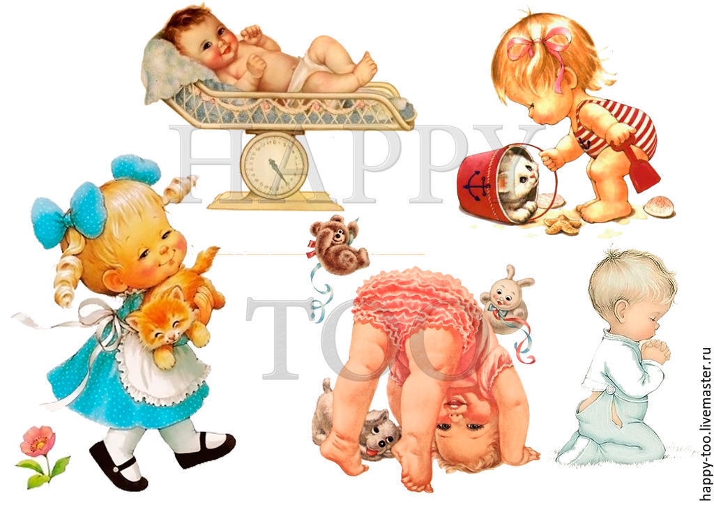 Termoprint. Boy. Girl. newborns. Decal with newborns. Pictures for fabric with children. No. №1