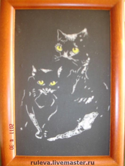 """Люди, ручной работы. Ярмарка Мастеров - ручная работа. Купить картина """"кошки"""". Handmade. Оригинальный подарок, подарок женщине, картина"""