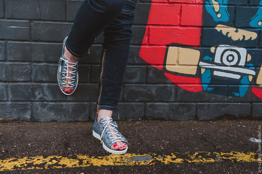 Обувь ручной работы. Ярмарка Мастеров - ручная работа. Купить Кеды открытые 13-317-s25  (СБ). Handmade. Мода