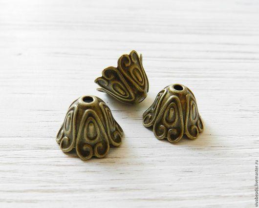 Шапочка для бусин концевик цвет бронзы, размер 15*11 мм, отверстие 2 мм, материал - сплав металлов, не содержит никеля, свинца (арт. 2240)