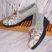 """Обувь ручной работы. Ярмарка Мастеров - ручная работа Туфли офисные валяные """"Вальс цветов""""  Русский стиль. Handmade."""