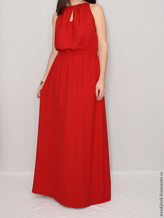 Платья ручной работы. Ярмарка Мастеров - ручная работа. Купить Шифоновое платье Красное длинное платье. Handmade. Женская одежда