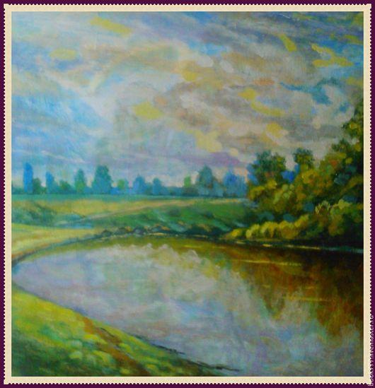 Пейзаж ручной работы. Ярмарка Мастеров - ручная работа. Купить «По небу плывут облака». Handmade. Зеленый, пейзаж с водой