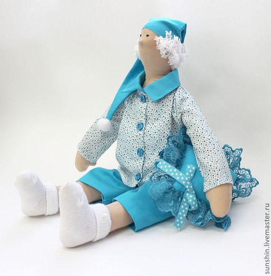 Куклы Тильды ручной работы. Ярмарка Мастеров - ручная работа. Купить Текстильная кукла. Бирюзовый сплюх.. Handmade. Бирюзовый, спальня