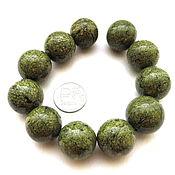 Материалы для творчества ручной работы. Ярмарка Мастеров - ручная работа Змеевик 11 камней набор зеленый крупные бусины гладкие. Handmade.
