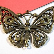 Материалы для творчества handmade. Livemaster - original item Butterfly antique bronze 55h35 mm. price per piece.. Handmade.