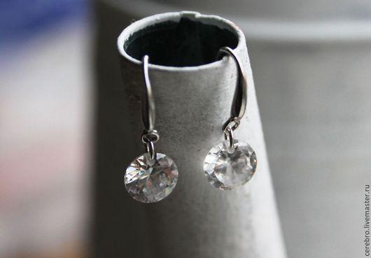"""Серьги ручной работы. Ярмарка Мастеров - ручная работа. Купить """"Crystals"""" серебряные серьги с цирконием. Handmade. Белый"""