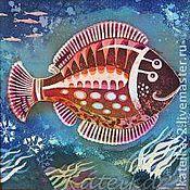 """Картины и панно ручной работы. Ярмарка Мастеров - ручная работа Батик-картина """"Рыба-Пумбрия"""". Handmade."""
