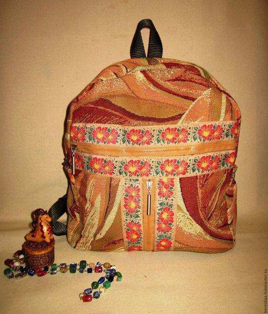 """Рюкзаки ручной работы. Ярмарка Мастеров - ручная работа. Купить Рюкзак из гобелена """"Тайфун"""". Handmade. Разноцветный, рюкзак для девушки, поликоттон"""