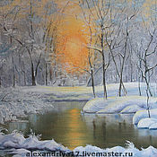 Картины и панно ручной работы. Ярмарка Мастеров - ручная работа Картина «Закат в зимнем лесу». Handmade.