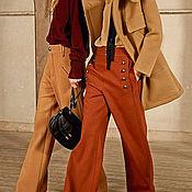 Одежда ручной работы. Ярмарка Мастеров - ручная работа широкие терракотовые брюки SHIC. Handmade.