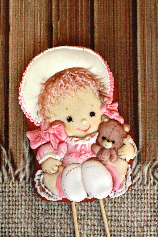 Топпер для торта или капкейка  `Имбирный пряник девочка с мишкой на 1 годик. Мастерская имбирного пряник Прянички для любименьких.