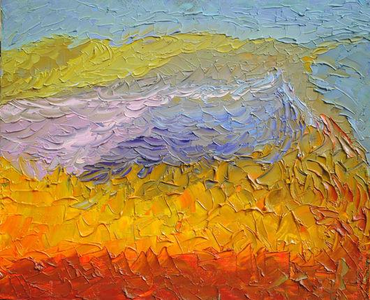 Пейзаж ручной работы. Ярмарка Мастеров - ручная работа. Купить Соленое озеро. Handmade. Оранжевый, голубой цвет, салатовый цвет