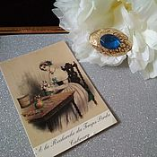 Винтажные броши ручной работы. Ярмарка Мастеров - ручная работа Ажурная брошь с синим камем. Handmade.
