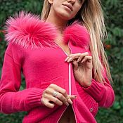Одежда handmade. Livemaster - original item A cashmere suit with a hood and trimmed from Arctic Fox Pink Barbie. Handmade.