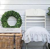 Для дома и интерьера handmade. Livemaster - original item Chair cover linen with ruffles Shabby Chic / Christmas gift. Handmade.
