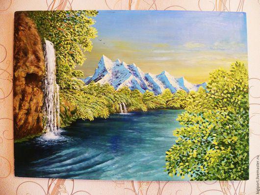 Пейзаж ручной работы. Ярмарка Мастеров - ручная работа. Купить Водопад. Handmade. Зеленый, водопад, холст на подрамнике, мастихин