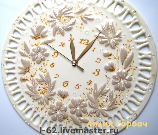 Clocks for Home handmade. Livemaster - handmade. Buy watch glass, fusing White chocolate.Fusing, flowers, glass
