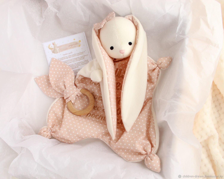 Игрушка для сна Комфортер зайка, Подарок новорожденному, Клин,  Фото №1
