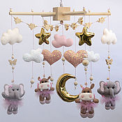 Работы для детей, handmade. Livemaster - original item Mobile made of felt for a baby cot Elephants and hippos. Handmade.