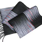 """Аксессуары handmade. Livemaster - original item """"Играю черными"""" шарф мужской валяный. Handmade."""