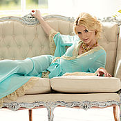 """Одежда ручной работы. Ярмарка Мастеров - ручная работа Будуарное платье """"Венецианская лазурь"""" - бирюзовое с золотым кружевом. Handmade."""