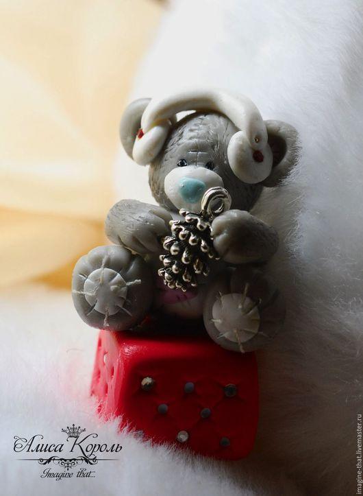 Игрушки животные, ручной работы. Ярмарка Мастеров - ручная работа. Купить Фигурка мишка в наушниках. Handmade. Серый, игрушки из глины