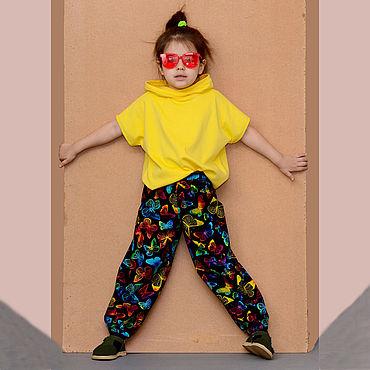 Одежда ручной работы. Ярмарка Мастеров - ручная работа Брюки шаровары из хлопка для девочки ростом 105-110 см. Handmade.