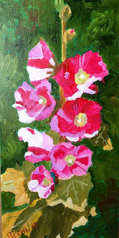 """Картины цветов ручной работы. Ярмарка Мастеров - ручная работа. Купить Картина маслом """"Мальва"""". Handmade. Цветы, цветочный, цветок"""