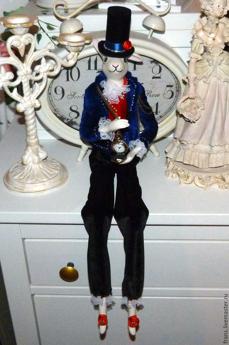 Porcelain Doll Alice`s White Rabbit handmade