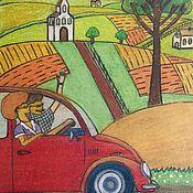 Картины и панно handmade. Livemaster - original item Oil pastel painting rural landscape
