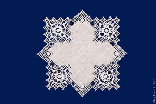 """Текстиль, ковры ручной работы. Ярмарка Мастеров - ручная работа. Купить Салфетка  """"Звезда"""" льняная с  ажурной старинной вышивкой. Handmade."""