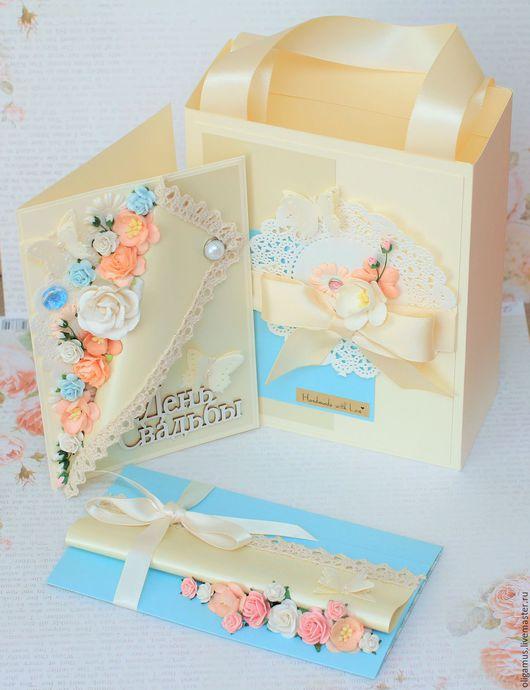 Подарки на свадьбу ручной работы. Ярмарка Мастеров - ручная работа. Купить Подарок на свадьбу (открытка конверт пакет). Handmade. Голубой