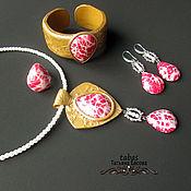Украшение Марсала колье браслет серьги кольцо полимерная глина красный