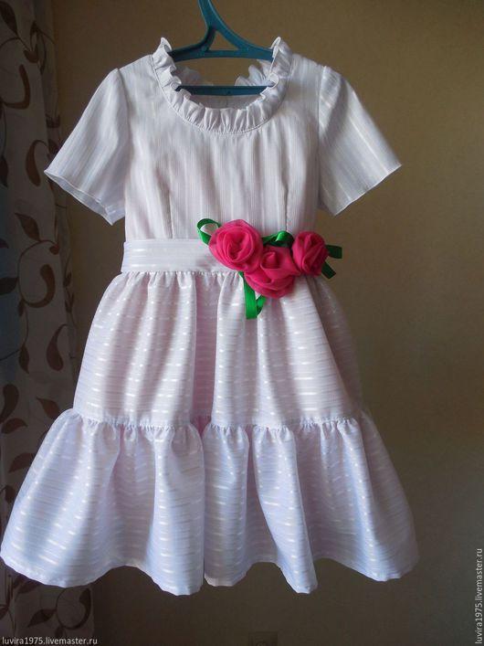 Одежда для девочек, ручной работы. Ярмарка Мастеров - ручная работа. Купить Рост 116.Нарядное белое атласное детское платье.. Handmade.