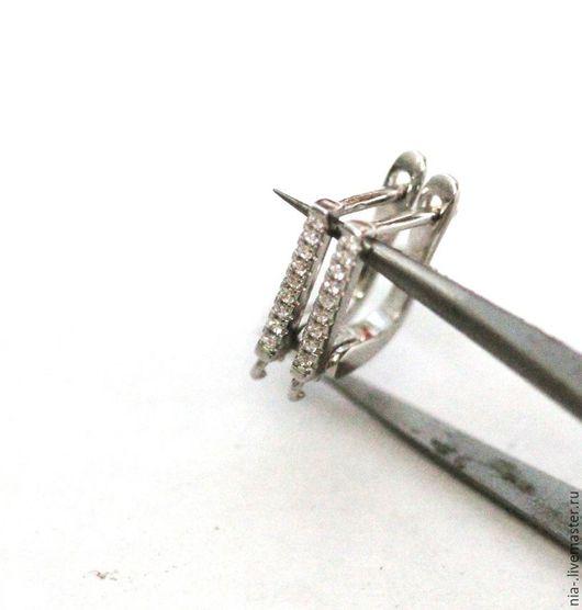 Для украшений ручной работы. Ярмарка Мастеров - ручная работа. Купить Швензы со стразами английский замок серебро. Handmade.