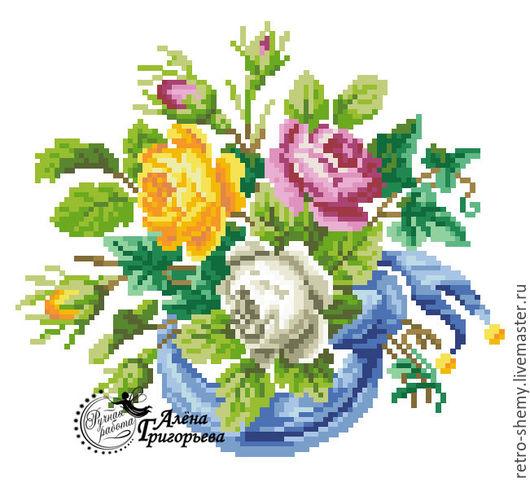 """Вышивка ручной работы. Ярмарка Мастеров - ручная работа. Купить Схема вышивки """"Виньетка с розами"""". Handmade. Схема для вышивки, ретро"""