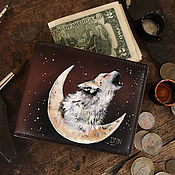 Wallets handmade. Livemaster - original item Wolf wallet, hand painted coin purse, brown leather pouch, bifold men. Handmade.