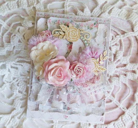 Открытки на все случаи жизни ручной работы. Ярмарка Мастеров - ручная работа. Купить Открытка с розами. Handmade. Бледно-розовый