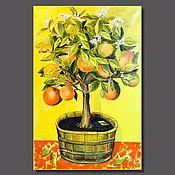 Картины ручной работы. Ярмарка Мастеров - ручная работа Картины: Апельсиновое дерево, масло/холст, 40х60, поп арт. Handmade.