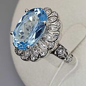 Украшения handmade. Livemaster - original item Silver ring with topaz 14h10 mm and cubic zirconia. Handmade.