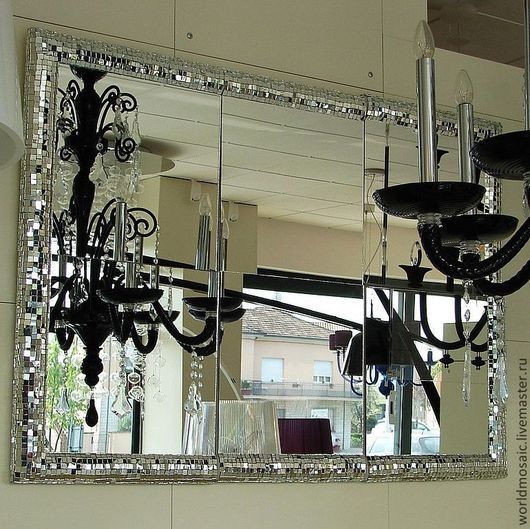 Зеркала ручной работы. Ярмарка Мастеров - ручная работа. Купить Зеркало в мозаичной раме, разделенное, Итальянский гламур. Handmade. Серебряный