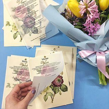 Свадебный салон ручной работы. Ярмарка Мастеров - ручная работа Меню на кальке с ботанической иллюстрацией. Handmade.